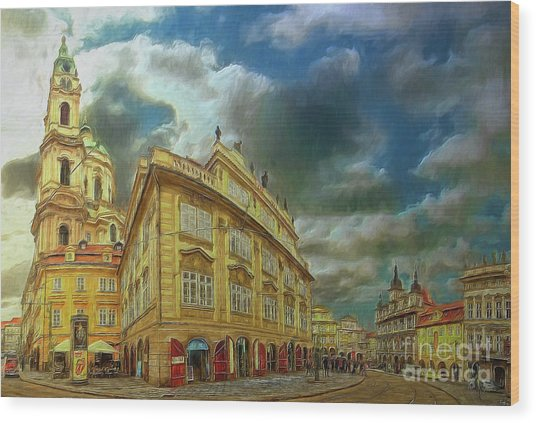 Shooting Round The Corner - Prague Wood Print