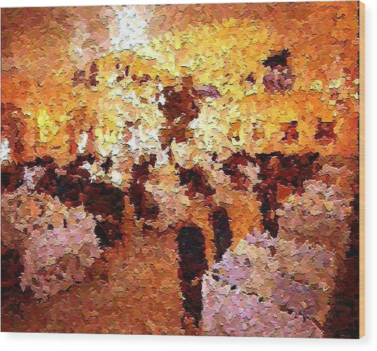Shoppers In The Gallery Wood Print by Don Phillips