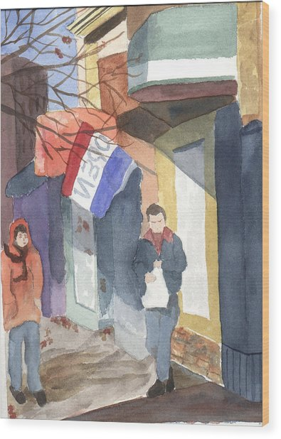 Wood Print featuring the painting Shopping On Exchange Street by Jane Croteau