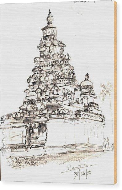 Shore Temple  Wood Print by KaramChand Nanta