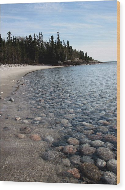 Shoreline Serenity Wood Print by Laura Wergin Comeau