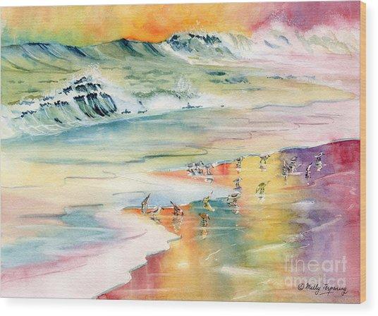 Shoreline Watercolor Wood Print