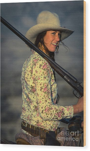 Shotgun Annie Western Art By Kaylyn Franks Wood Print