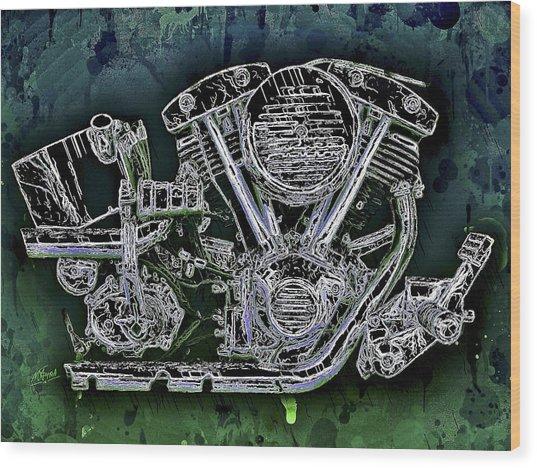 Harley - Davidson Shovelhead Engine Wood Print