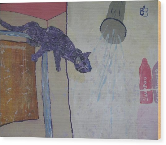 Shower Cat Wood Print