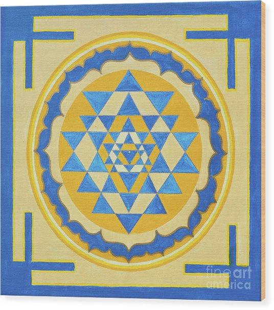 Shri Yantra For Meditation Painted Wood Print