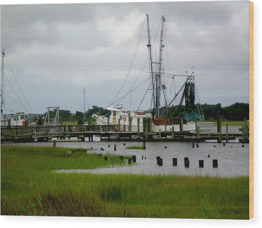 Shrimp Boats Wood Print by Jeffrey Zipay