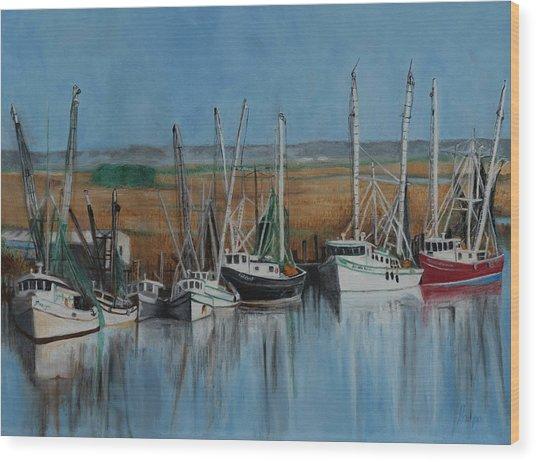 Shrimp Boats Of Darien, Ga Wood Print