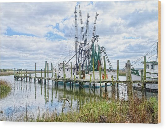 Shrimp Boats Of St. Helena Island Wood Print