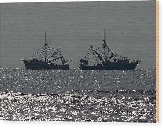 Shrimp Boats Wood Print by Rick Mann