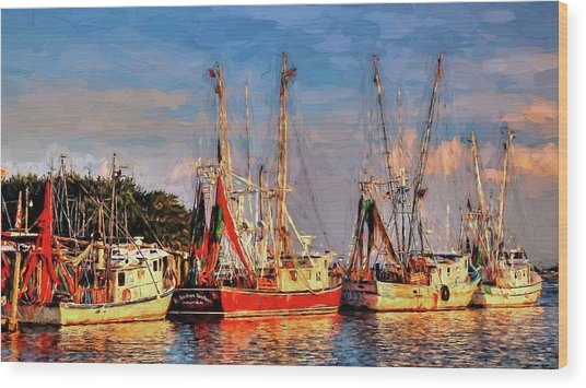 Shrimp Boats Shem Creek In Mt. Pleasant  South Carolina Sunset Wood Print