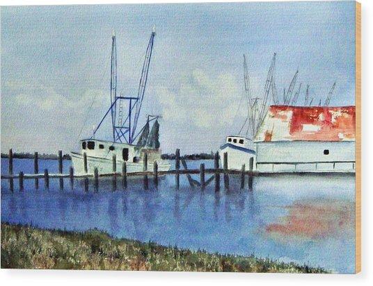 Shrimpboats At Dock Wood Print by Carol Sprovtsoff