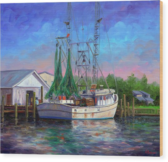 Shrimper At Harbor Wood Print by Jeff Pittman