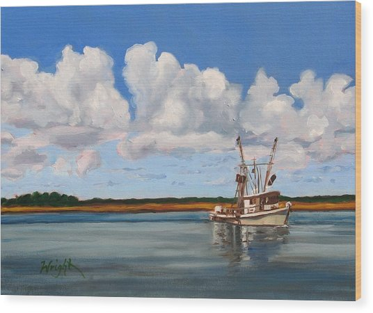 Shrimper Wood Print by Molly Wright