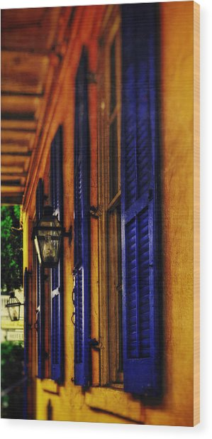 Shutters And Lamps Wood Print