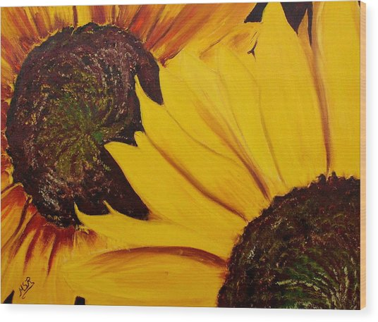 Shy Sunflower  Wood Print by Maria Soto Robbins
