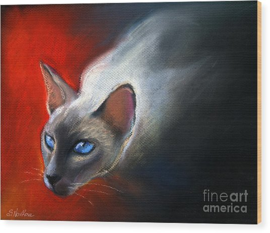 Siamese Cat 7 Painting Wood Print