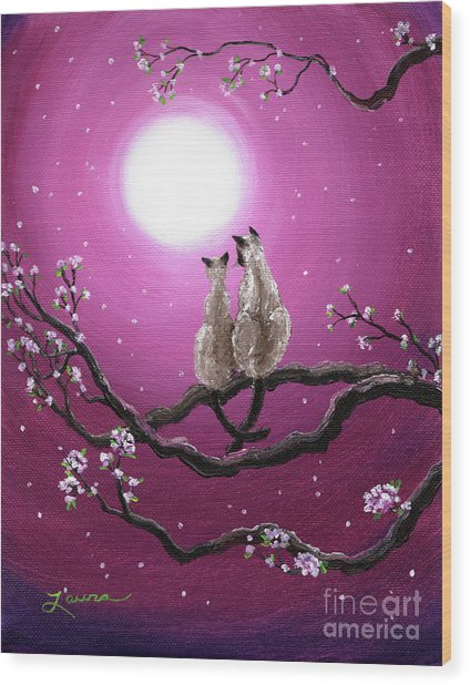 Siamese Cats In Spring Blossoms Wood Print by Laura Iverson