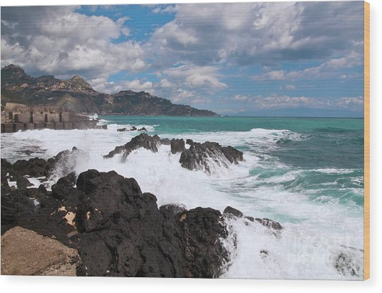 Wood Print featuring the photograph Sicilian Stormy Sound by Silva Wischeropp