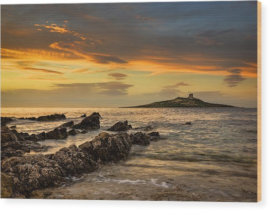 Sicilian Sunset Isola Delle Femmine Wood Print
