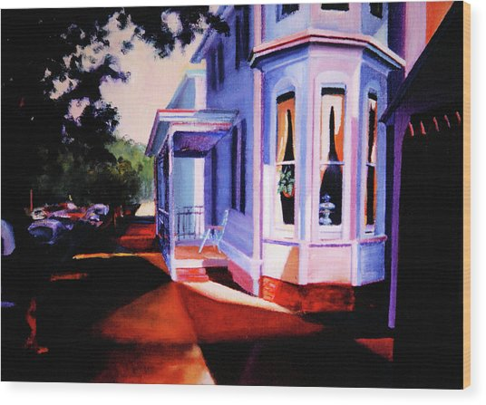 Wood Print featuring the painting Side Street - Lambertville by Robert Henne