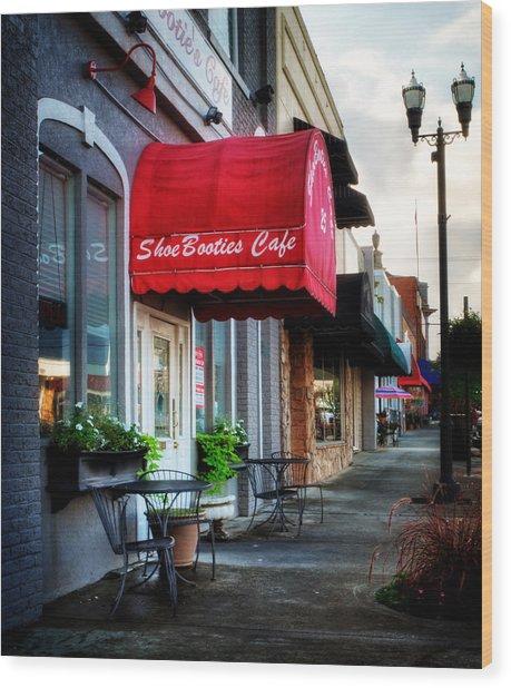 Sidewalk At Shoebooties Cafe Wood Print