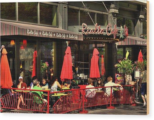 Sidewalk Cafe Wood Print by Laurie Prentice