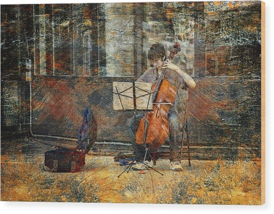 Sidewalk Cellist Wood Print
