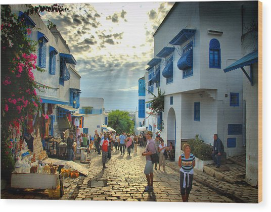 Sidi Bou Said Sunset Wood Print by Aleksey Napolskih