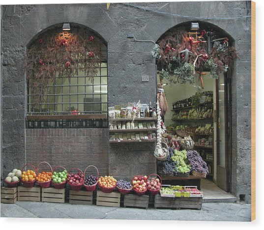 Wood Print featuring the photograph Siena Italy Fruit Shop by Mark Czerniec