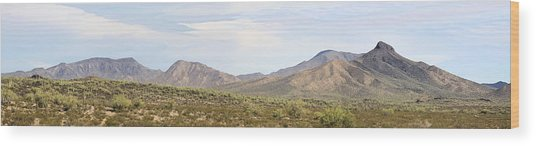 Sierra Estrella Mountains Panorama Wood Print by Sharon Broucek