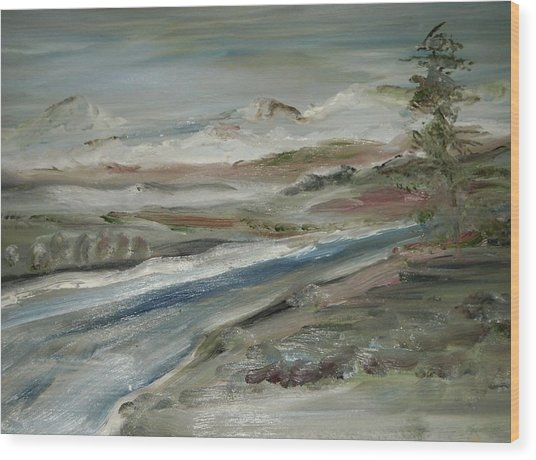 Sierra Mountain Stream Wood Print by Edward Wolverton