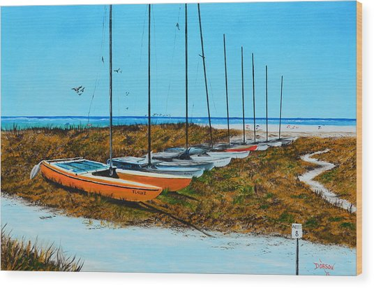 Siesta Key Access #8 Catamarans Wood Print