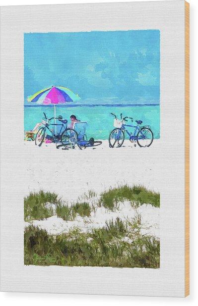 Siesta Key Beach Bikes Wood Print