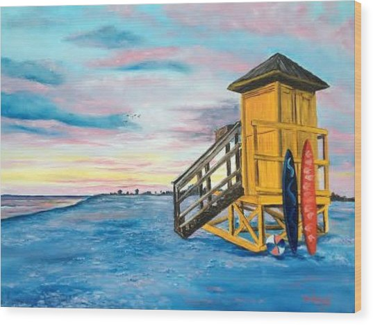 Siesta Key Life Guard Shack At Sunset Wood Print