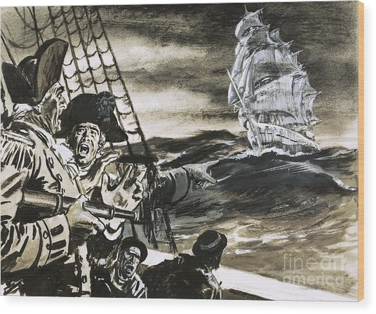 Sighting Of A Ghost Ship Wood Print