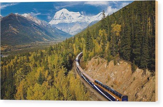 Sightseeing Thru Canadian Rockies Wood Print
