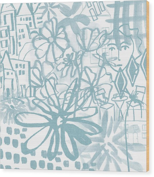 Sightseeting- Art By Linda Woods Wood Print