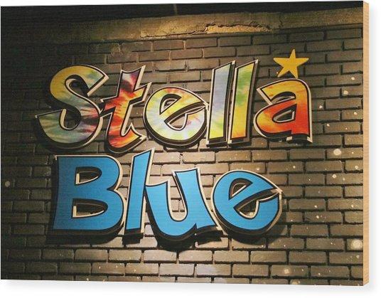 Sign Of Stella Blue Wood Print