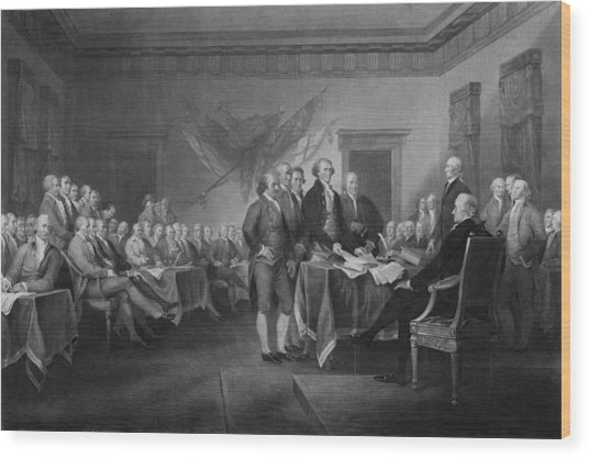 Signing The Declaration Of Independence Wood Print
