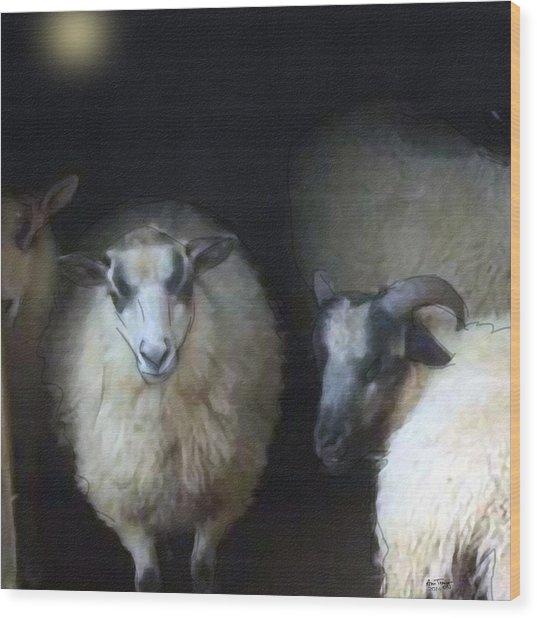 Silence Of The Sheep Wood Print