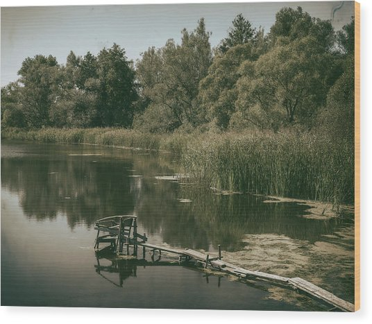 Wood Print featuring the photograph Silent Lake. Korop, 2016. by Andriy Maykovskyi