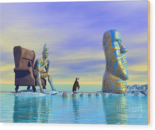 Wood Print featuring the digital art Silent Mind - Surrealism by Sipo Liimatainen