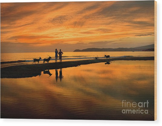 Silhouette And Amazing Sunset In Thassos Wood Print