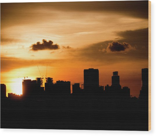 Silhouette City Wood Print