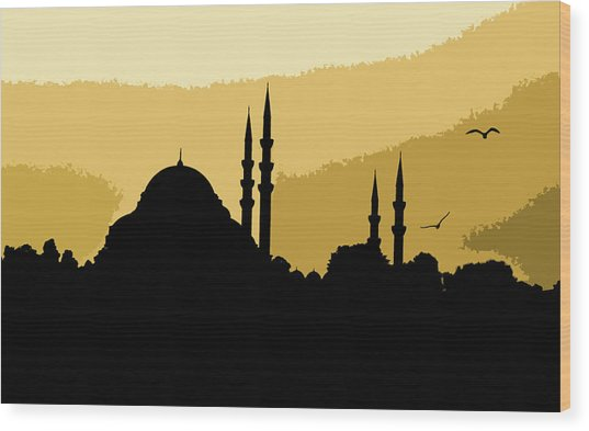 Silhouette Of Mosques In Istanbul Wood Print