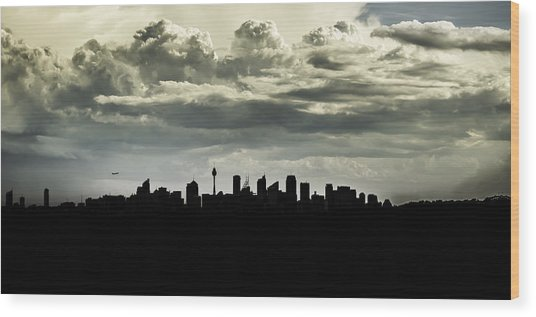 Silhouette Of Sydney Wood Print