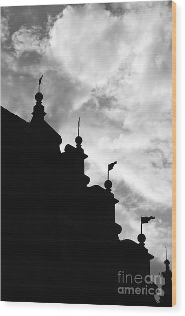 Silhouette Of The Roof In Rothenburg Germany Wood Print by Hideaki Sakurai