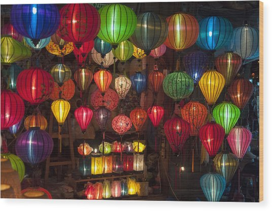 Silk Lanterns Wood Print