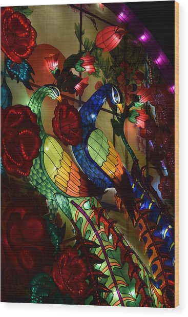 Silk Peacocks Wood Print